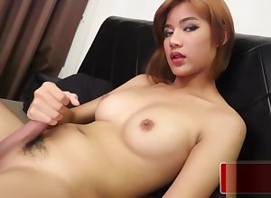 Asian tgirl tugging the brush penis