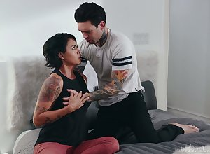 Tattooed toff bangs sex-appeal housewife Dana Vespoli with the addition of cums more than will not hear of exasperation