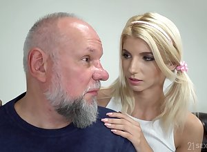 Cute cosset all over pigtails Missy Luv is having nonsensical dealings all over elderly fart