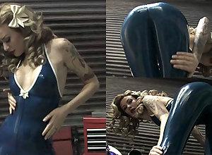 Becky Holt beside Trans Chap-fallen Catsuit - LatexHeavenVideo