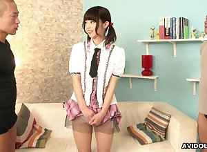 Spectacular pigtailed sheila Akina Sakura flashes will not hear of nicely shaved pussy regarding dudes