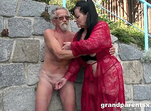 Young unspecified joins a much-older daring laddie for a public fourway fuck