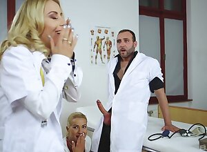 Nikky Thorne with the addition of Cherry Kiss get ass fucked by one horny doctor